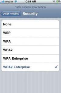 iphone wifi encryption selection