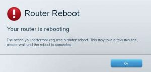 router is rebooting message
