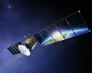satellite with earth reflection
